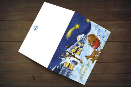 Illustrierte Weihnachtskarte für ATMOS MedizinTechnik.
