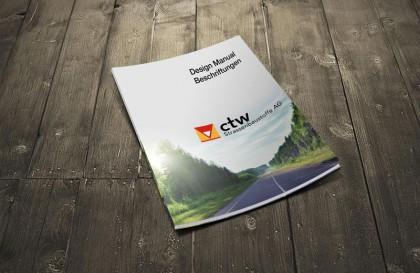 Corporate Designhandbuch für den Bereich Beschriftungen von ctw.