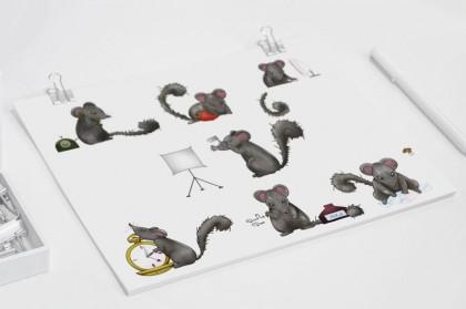 verschiedene Illustrationen der Dormouse bei diversen Tätigkeiten.