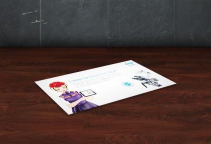 Gewinnspielkarte mit der Illustration eines Schwarzwaldmädels im Bollenhut für ATMOS MedizinTechnik
