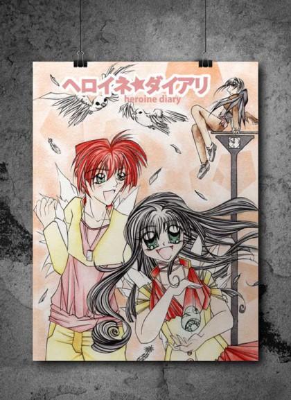 Coverseite der Manga-Kurzgeschichte Heroine Diary. Die beiden Hauptcharaktere stehen im Fokus.