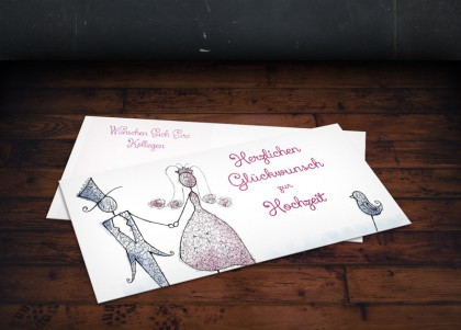 Glückwunschkarte zur Hochzeit. Illustration von zwei Drahtfiguren in hellblau und rosa.