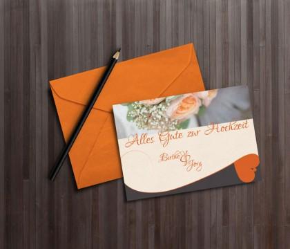 Glückwunschkarte zur Hochzeit. On Orangetönen gehalten mit zartem Blumenmuster.