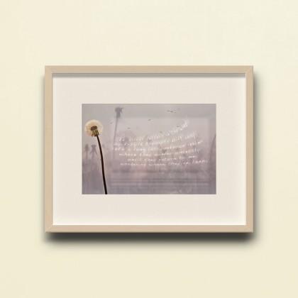 Bildkomposition aus verschiedenen Fotos und Text. im zentrum steht eine Pusteblume.