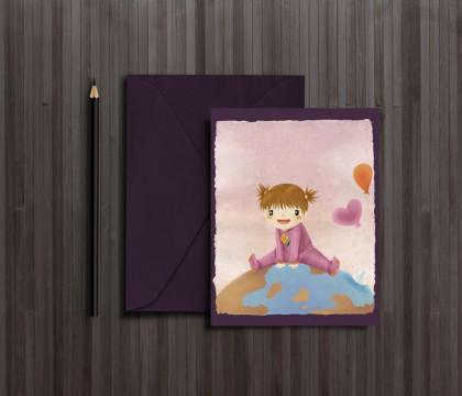 Glückwunschkarte zur Geburt. Geziert von einer Illustration eines Kleinen Mädchens auf einer Weltkugel.