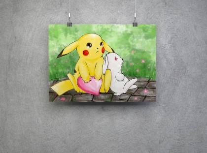 Pikachu und ein kleiner weißer Hase mit einem Herz. Beide sind traurig.
