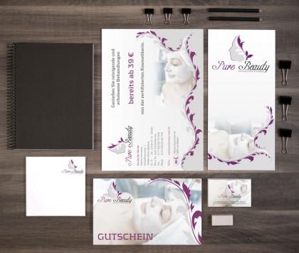 Geschäftsausstattung mit Flyern, Visitenkarten und Gutscheinen für Pure Beauty.