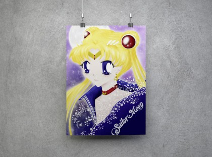 Sailor Moon vor lilanem Hintergrund mit riesigem Vollmond.