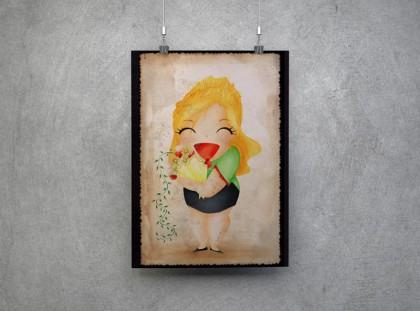 Lachendes, pummeliges Mädchen mit einem STrauss Blumen.