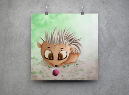 Illustration von einem Igel, der mit einem kleinen rosa Ball spielt