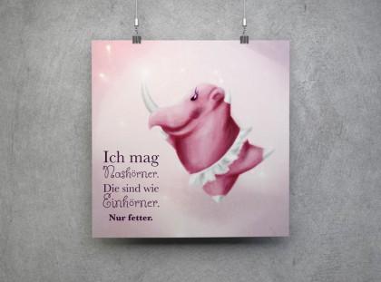 Illustration von einem Rosa Nashorn im Tutu mit Text: Ich mag Nashörner. Die sind wie Einhörner. Nur fetter.