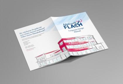Umschlaggestaltung des Corporate Design Manuals für die Nähwelt Flach