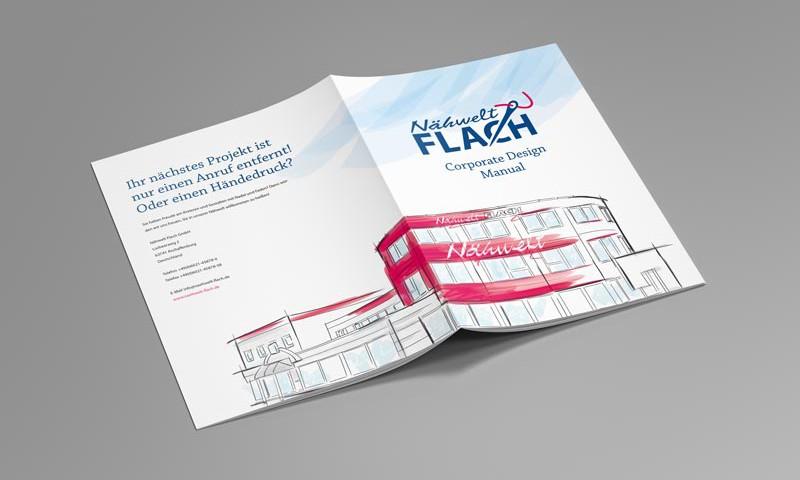 Corporate Design Manunal für die Nähwelt Flach